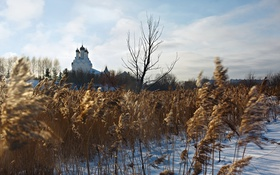 Обои зима, закат, храм
