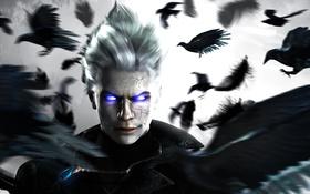 Картинка ворон, белые волосы, raven, Capcom, Vergil, DmC: Devil May Cry
