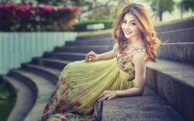 Картинка улыбка, макияж, платье, Fashion Asia
