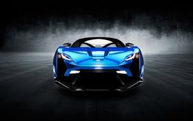 Картинка синяя, чёрный фон, передок, Supersport, 2015, Lykan, W Motors