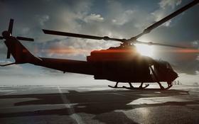 Картинка Helicopter, Battlefield 4, UH-1Y «ВЕНОМ», Лучи, Тени, Солнце