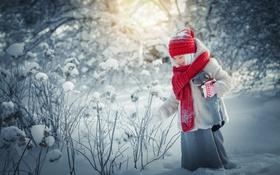 Обои природа, снег, ребенок, зима