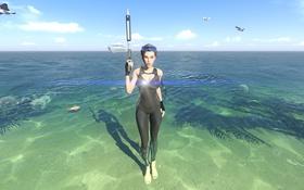 Обои море, девушка, берег, костюм, lara croft, tomb raider, гарпун