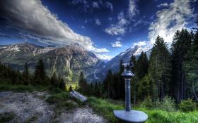 Обои hdr, горы, Австрия, долина, деревья, водопады, площадка
