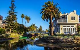 Обои США, Калифорния, дома, мост, речка, пальмы