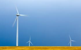 Обои поле, небо, ветряная мельница