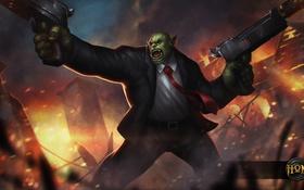 Картинка оружие, огонь, пистолеты, взрывы, костюм, орк, Heroes of Newerth
