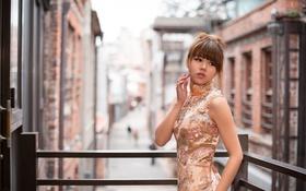 Картинка город, платье, азиатка, жест
