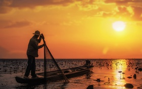 Картинка шляпа, цветы, каноэ, рыбак, озеро, лето, солнце