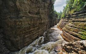 Картинка река, скалы, деревья, ущелье