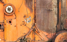 Обои metal, orange, rust, machinery