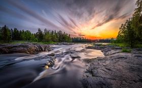 Картинка природа, река, утро