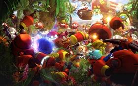 Картинка лес, игра, robot, Amy Rose, Ёж Соник, Sonic the Hedgehog, Cream the Rabbit