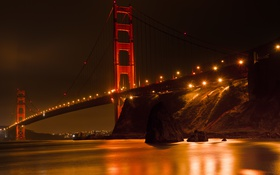 Обои ночь, мост, огни, отражение, экспозиция, выдержка, california