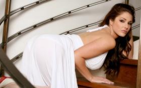 Картинка girl, Lucy Pinder, ass, dress, white.