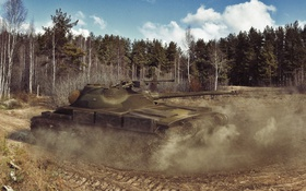 Обои пыль, танк, танки, WoT, Мир танков, tank, World of Tanks