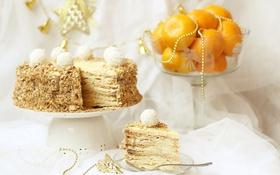 Обои торт, мандарины, наполеон