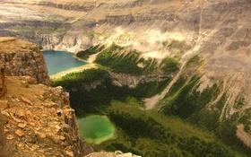 Обои горы, озеро, скалы, Канада, панорама, ущелье, Альберта