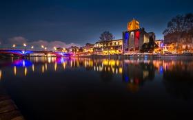 Картинка ночь, мост, огни, река, Франция, башня, Лангедок-Руссильон