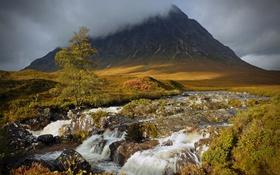 Обои водопад, гроза, река, облака, горы