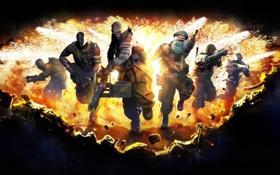 Картинка взрыв, атака, пулемет, бегут, Bodycount