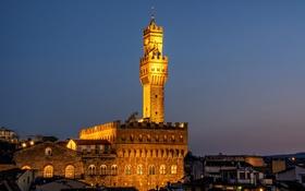 Картинка небо, ночь, огни, башня, Италия, Флоренция, Палаццо Веккьо