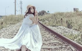 Картинка дорога, Девушка, железная, азиатка