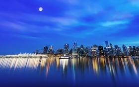Обои ночь, луна, Город