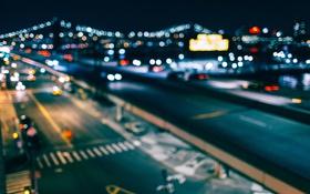 Обои ночь, мост, огни, река, улица, Нью-Йорк, боке