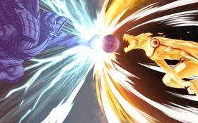 Обои art, susanoo vs kurama, desorienter, naruto, naruto vs sasuke