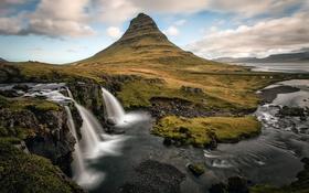 Картинка пейзаж, природа, река, гора, водопад