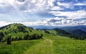 Обои небо, солнце, облака, путь, холмы