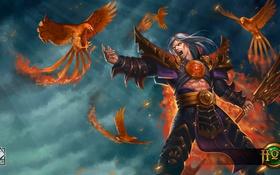 Обои птицы, огонь, факел, art, Heroes of Newerth, Blind Prophet
