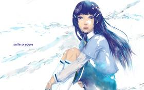 Обои девушка, чулки, аниме, арт, форма, школьница, smile precure!