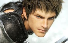 Обои Final Fantasy, лицо, воин, парень, меч, игра, взгляд