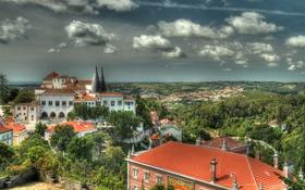 Обои небо, облака, город, фото, HDR, сверху, Португалия