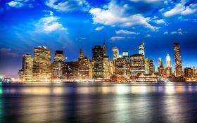 Картинка небо, облака, огни, река, дома, Нью-Йорк, набережная