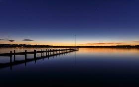 Картинка мостик, зарево, причал, вечер, озеро, небо