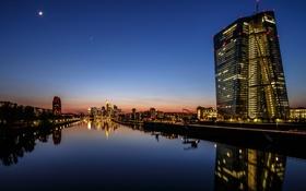 Картинка пейзаж, ночь, огни, луна, дома, Германия, Франкфурт-на-Майне
