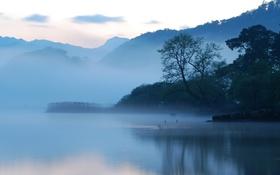 Картинка горы, туман, озеро, утро