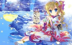 Картинка вода, подсолнухи, светлячки, камень, арт, девочка, фонарь