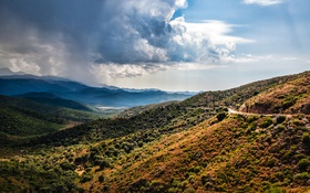 Картинка дорога, небо, облака, горы, Франция, долина, Corsica