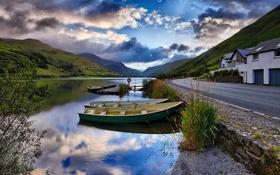 Картинка облака, река, Лодка