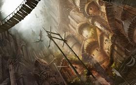 Обои город, драконы, арт, постройки