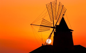 Обои небо, солнце, закат, силуэт, ветряная мельница