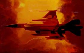Обои полет, авиация, фон, истребитель, Арт