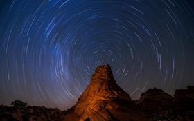 Картинка Пау Отверстие, Соединенные Штаты, Южная Койот Бют Vermilion скалы Национальный памятник, длинные выдержки, космос, звезды