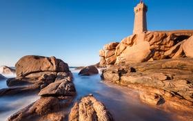 Картинка море, камни, скалы, маяк, башня