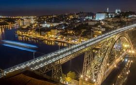 Обои ночь, зеркало, огни, крыши, реки Дору, Португалия, Понте Луис I