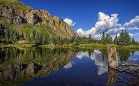 Картинка деревья, горы, озеро, отражение, река